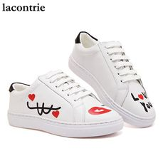 lacontrie new spring and summer of 2017 hand-painted love genuine leather white shoes youngers casual shoes women fashion shoes