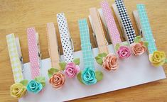 Adorable clothes pins decorated with bread dough roses (yes, I said bread. who knew? Kids Crafts, Easy Craft Projects, Tape Crafts, Diy And Crafts, Projects To Try, Arts And Crafts, Craft Ideas, Clothes Pin Wreath, Clothes Pegs