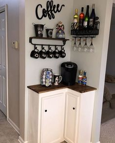 best DIY coffee station ideas for all coffee lovers - tiny space co . - best DIY coffee station ideas for all coffee lovers – tiny space corner coffee bar ba - Coffee Bar Home, Home Coffee Stations, Coffee Bar Ideas, Coffee Nook, Coffee Kitchen Decor, Wine And Coffee Bar, Coffee Bar Design, Coffee Bar Station, Coffee House Decor