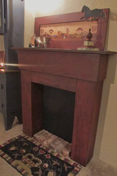 Fireplace mantle primitive colonial FREE by salmonfallsprims