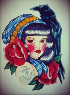 Gypsy girl with a crow tattoo design… I drew this a few years ago but I still love it.