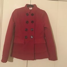 Lola Red coat with big buttons Lola Red coat with big buttons, 2 front pockets. Sowed in belt, very cute and stylish LOLA Jackets & Coats