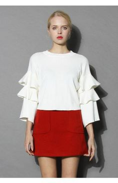 White Knit Top with Tiered Frilling Sleeves - Tops - Retro, Indie and Unique Fashion