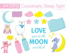 Goodnight Clipart, Moon Clipart, Bear Clipart, Pillow Clipart, Cloud Clipart, Owl Clipart, Star Clipart, Sheep Clipart, CS0029 by Sweetdesignhive on Etsy Star Clipart, Sleep Tight, Good Night, Sheep, Owl, Clip Art, Clouds, Bear, Pillows