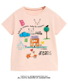 Disney Shirts For Family, Shirts For Girls, Design Girl, Print Design, Painted Clothes, Kid Styles, Summer Girls, Baby Wearing, Kids Wear
