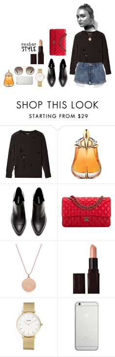 """""""Let's Rock this Autumn"""" by anais-wardrobe ❤ liked on Polyvore featuring Thierry Mugler, Chanel, Monica Vinader, Laura Mercier, CLUSE, Native Union and Prada"""