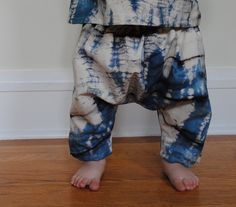 Unisex batik ninja pants, made to order, 100% cotton, baby harem pants. $22.00, via Etsy.