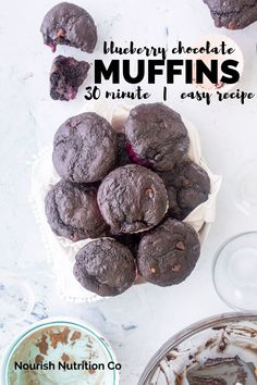 These double chocolate blueberry muffins are made with dark cocoa powder, chocolate chips and big juicy frozen blueberries. They're easy, quick, and packed with flavor. Perfect for a make ahead breakfast or quick snack. #muffins #blueberries #chocolate Chocolate And Blueberry Muffins, Best Blueberry Muffins, Savory Breakfast, Make Ahead Breakfast, Breakfast Ideas, Breakfast Recipes, Healthy Dessert Recipes, Baking Recipes, Muffin Recipes