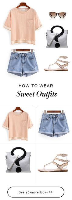 Summer street style -Pink Studded Strappy Sandals with pink short sleeve t shirt and blue ripped denim shorts  - shein.com  US$31.99