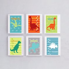6 colorful dinos posters to decorate a boy's bedroom by alexiableu
