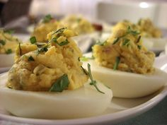 Food Network invites you to try this Tarragon Deviled Eggs recipe from Claire Robinson. No mayo! Easter Deviled Eggs, Deviled Eggs Recipe, Egg Recipes, Appetizer Recipes, Cooking Recipes, Cold Appetizers, Party Appetizers, Easter Recipes, Cooking Ideas