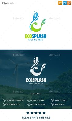 Buy Water Logo by Exe-Design on GraphicRiver. S Logo Design, Logo Design Template, Logo Templates, City Branding, Logo Branding, Friend Logo, Water Logo, Logos Cards, Graphic Design Posters