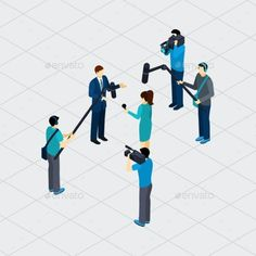 Journalist Profession Teamwork Isometric Banner by macrovector Journalist profession work situation making live tv reportage outdoor in urban area isometric banner abstract vector illustration.
