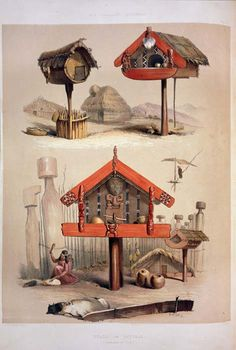 The New Zealanders, George French Angas, Maori indians created these amazing structures as storage rooms for food! Fine Art Prints, Framed Prints, Canvas Prints, Kia Ora, Maori Designs, Maori Art, English Artists, Wonderful Images, Poster Size Prints