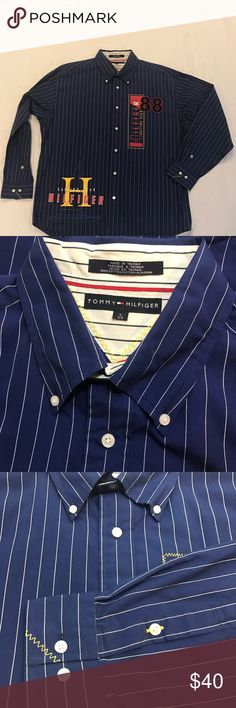Tommy Hilfiger sailing gear vintage Button Down XL Size XL blue tommy sailing gear Nautical theme shirt. Mint condition. Tommy Hilfiger Shirts Casual Button Down Shirts