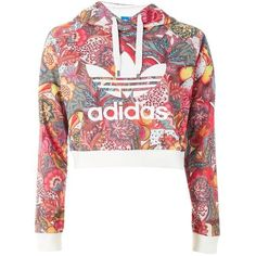 Floral Hoodie by Adidas Originals ($65) ❤ liked on Polyvore featuring tops, hoodies, floral tops, white crop top, hooded sweatshirt, white hooded sweatshirt and cropped hoodie