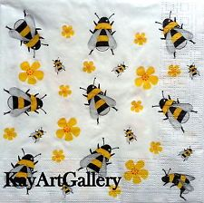 4 Single Vintage Table Paper Napkins, Lunch, for Decoupage, Bees ,Decopatch