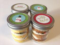 4 (8oz) Cupcakes In A Jar-Mason Jars-Christmas-Merry Christmas-Christmas Gifts-Snowmen-Ho Ho Ho-Santa Claus-Stocking Stuffer-Teacher Gifts