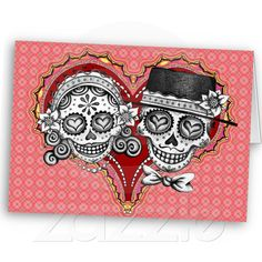 Sugar Skull Couple Cards from Zazzle.com
