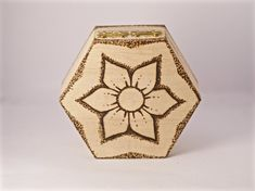 Flower Trinket Box Wood Burnt Boxes Dotted Pyrography Storage Container Handmade - midnighthoots.