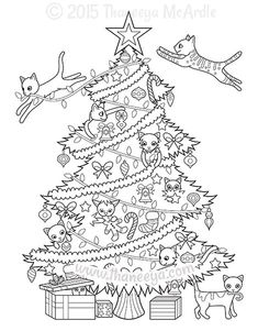 Christmas Tree Cats Coloring Page by Thaneeya