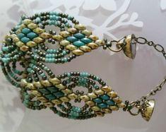 Joyería de cuentas, pulsera tejida de grano, Super Duo perlas, rocallas Miyuki, verde y turquesa, pulseras, regalo para ella