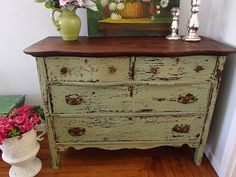 D.D.'s Cottage and Design: Green Chippy Milk Paint Dresser