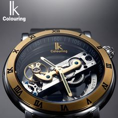 US $60.29 - IK Perspective Design Hollow Engraving Gold Case Leather Skeleton Automatic Mechanical Watches Men Luxury Brand Heren Horloge