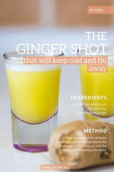 The Ginger Shot That Will Keep Cold and Flu Away &; ginger shot recipe that will help boost your imm&; The Ginger Shot That Will Keep Cold and Flu Away &; ginger shot recipe that will help boost your imm&; Healthy Juice Recipes, Healthy Juices, Healthy Smoothies, Healthy Drinks, Nutrition Drinks, Healthy Food, Vegetable Smoothies, Juicer Recipes, Blender Recipes