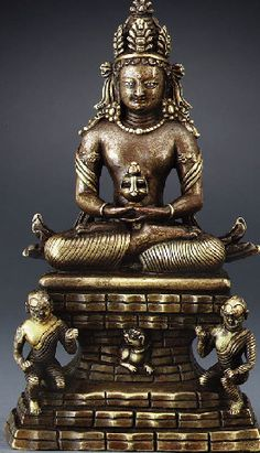 15th century circa, Kashmir, Amitayus, copper alloy with silver-inlaid eyes and copper-inlaid lips, private collection, photo by Christie's.