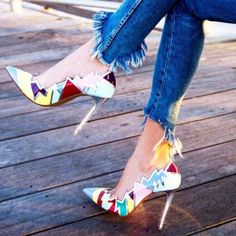 Shoespie Color Block Slip-On Pointed Toe Stiletto Heel|Heel Height:12cm