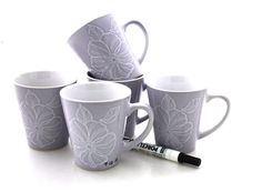 F U N - DIY personalized mugs set of 5 and ceramic pen by LennyMud on Etsy, $38.00