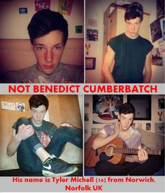 """Tyler Michell is this guy's name. Please share - this and other photos of him have been repinned as Benedict Cumberbatch. It is not. Link to his tumblr for more evidence. It's really cool look-a-like but unfortanuatly not """"the real"""". Thanks lovelies - keep an eye out for more of Tyler's photos floating around xx (i dislike false information to fans so pinning this)"""