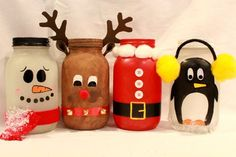 These adorable hand-painted, Christmas mason jars are the perfect addition to anyones holiday decor. Each jar is handcrafted, so no two jars Christmas Projects, Holiday Crafts, Christmas Crafts, Christmas Decorations, Reindeer Christmas, Winter Christmas, Snowman Crafts, Holiday Decor, Pot Mason Diy