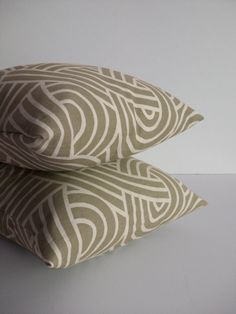 Khaki Swirls Pillow Covers - 14X14 Pair - $30.00, via Etsy.