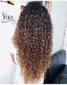 63 stunning examples of brown ombre hair - Hairstyles Trends Ombre Curly Hair, Brown Ombre Hair, Colored Curly Hair, Curly Hair Care, Long Curly Hair, Curly Hair Styles, Natural Hair Highlights, Dyed Natural Hair, Permed Hairstyles