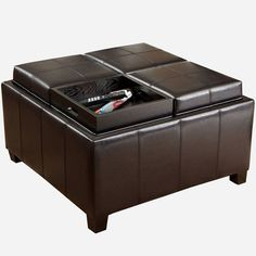 Asstd National Brand Flynn Bonded Leather Tray-Top Storage Ottoman