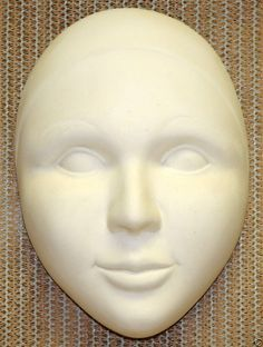 Ceramic Bisque Pierrot Mask Duncan Mold 1563 U-Paint Ready To Paint #Duncan #UPaint