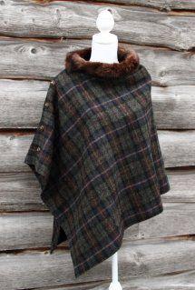 Harriet Hoot Harris Tweed & Vintage Fur Poncho
