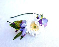 White and Purple Headband Flower Headband by RuthNoreDesigns, $16.00