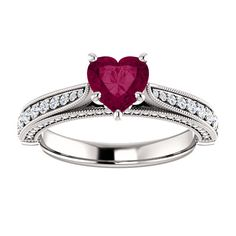 10kt White Gold 6x6mm Center Heart Garnet and 74 Accent Genuine Diamonds Engagement Ring...(ST122474:1437:P).! Price: $699.99 #diamonds #ring #gold #garnetring #fashionring #jewelry