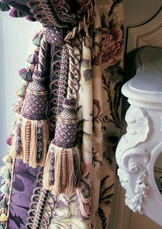 Photo: Declercq Passementiers I adore tassels, they are something that I cannot resist buying. When I was living in Dubai I found a f. Tassel Curtains, Velvet Curtains, Window Drapes, Window Coverings, Window Treatments, Versailles, Lavender Cottage, Pelmets, Passementerie