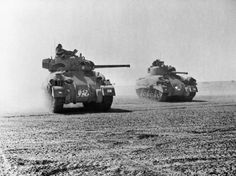 Sherman tanks of 'C' Squadron, 9th Queen's Royal Lancers, 2nd Armoured Brigade, 1st Armoured Division, North Africa 5 November 1942 (www.ww2aircraft.net) - pin by Paolo Marzioli