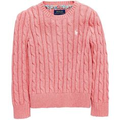 Ralph Lauren Girls Classic Cable Knit Jumper ($95) ❤ liked on Polyvore featuring tops, sweaters, layered sweater, cable knit sweaters, chunky cable knit sweater, crew-neck sweaters and cotton crewneck sweater