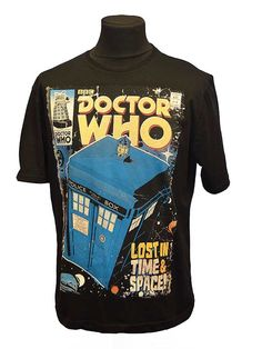 Get lost in time and space with Doctor Who and the TARDIS in  this comic book styled t-shirt.