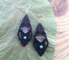 Gorgeous micro macrame earrings with two Crystal Quartz Pyramids and natural Turquoise beads set in Black wax thread . The earrings are very light and comfortable to wear , the ear hooks are made of Stamped 925 Sterling Silver .