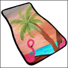Flamingo In Paradise Beach Art Car Mat set of 2 from by maremade, $69.99