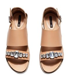 Beige sandals in premium-quality leather, with decorative oversized rhinestones & chunky rubber soles. | H&M Shoes