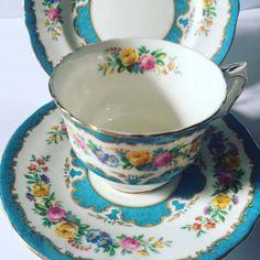 Staffordshire-vintage-blue-and-floral-teacup-trio-teacup-saucer-plate