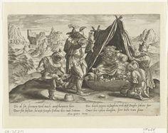 Anonymous | Familie van narren, Anonymous, Hieronymus Cock, 1530 - 1570 | Familie van narren. Een oude zottin in een tent heeft een nest van jonge narren uitgebroed. De kleintjes krijgen eten en drinken. Voor de tent dansen twee narren over het ei. Op de achtergrond een berglandschap met een kasteel. Onderschrift van 4 regels in het Nederlands.